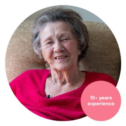 A resident in a care home. Marketing for care home.