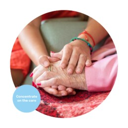 A carer holding hands with a resident in a care home. Marketing for care homes.