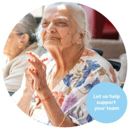A religious resident in a religious care home. Marketing for care homes.