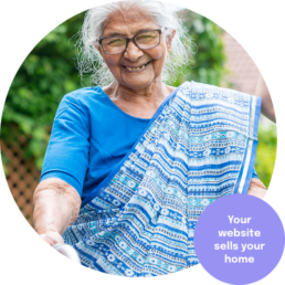 A happy resident in a religious care home. Websites for care homes.